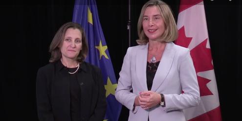 Chrystia Freeland (links) und Federica Mogherini laden zum Treffen der Aussenministerinnen ein.
