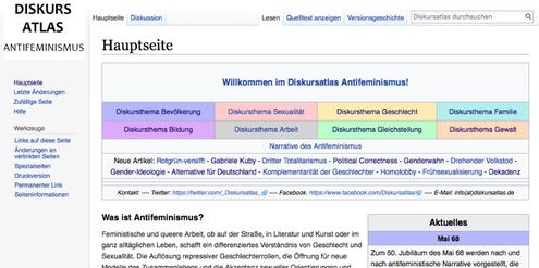 Ausschnitt aus dem Online-Lexikon «Diskursatlas Antifeminismus».