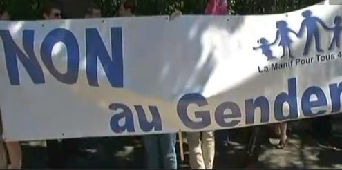 «Nein zu Gender»: Für die Demonstrierenden in Nantes ist die traditionelle Familie in Gefahr.
