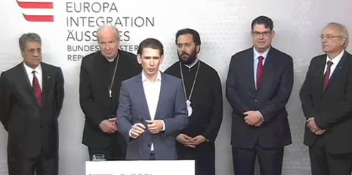 Männerrunde: Minister Sebastian Kurz (ÖVP) mit Mitgliedern der «Interreligiösen Dialogplattform».