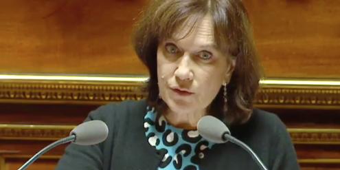 Frauenministerin Laurence Rossignol verteidigt im Senat das Recht auf einen Schwangerschaftsabbruch.