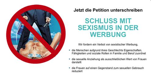 Die Petition verlangt ein landesweites Verbot sexistischer Werbung.