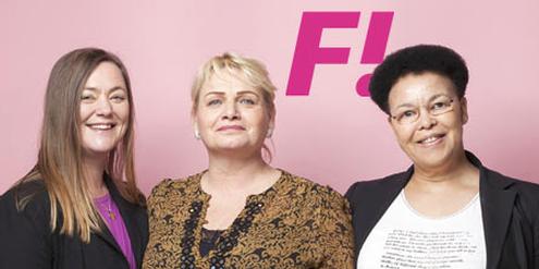 Soraya Post (Mitte) mit Parteikolleginnen Stina Svensson (links) und Margaret Gärding (rechts).