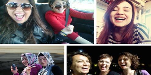 Frauen lachen auf Twitter über das Lachverbot.