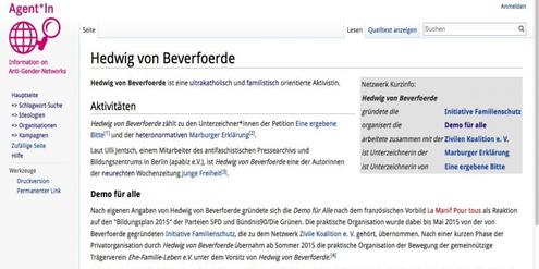 Ausschnitt des Eintrages zu Hedwig von Beverfoerde im Agent*In-Lexikon.