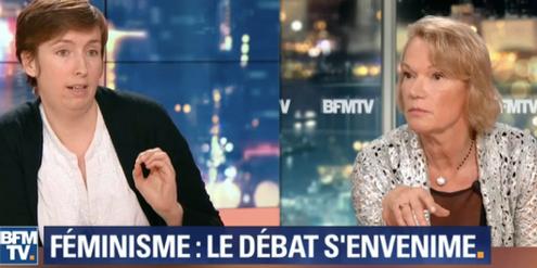 Caroline de Haas (links) wirft den Gegnerinnen der #MeToo-Kampagne vor, Gewalt zu banalisieren.
