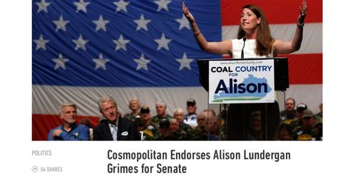 «Cosmopolitan» empfiehlt Alison Lundergan Grimes zur Wahl.