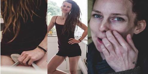 Drei Fotos, die Esther Mauersberger während des Abbruchs und danach von sich gemacht hat.