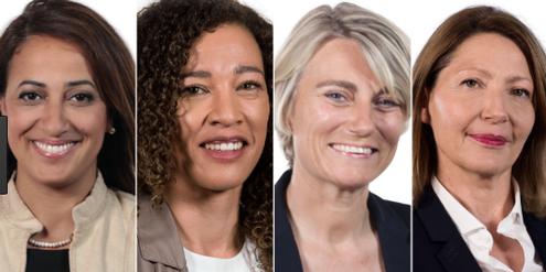 Neu im französischen Parlament: Amal Lakrafi, Aude Amadou, Stéphanie Rist, Natalia Pouzyreff.