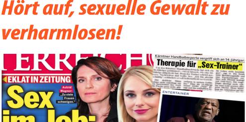Wer Gewalt mit Sex gleichsetzt, verhöhnt die Opfer, kritisiert der Verein #aufstehn.