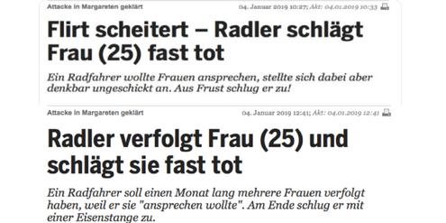 Das Newsportal «Heute.at» korrigierte die Berichterstattung aus Täterperspektive nach zwei Stunden.