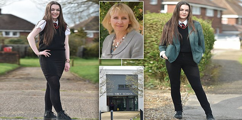 Zu kurzer Rock, zu enge Hose: Schulleiterin Tracey Jones (Mitte) schickte Chloe Hirst nach Hause.