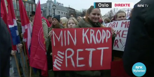 Im letzten Herbst: Demonstration in Oslo gegen eine Verschärfung des Abtreibungsrechtes.