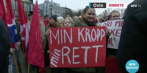 Demonstration für das liberale Abtreibungsrecht in Oslo.