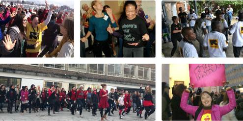Menschen fordern tanzend ein Ende der Gewalt gegen Frauen und Mädchen.