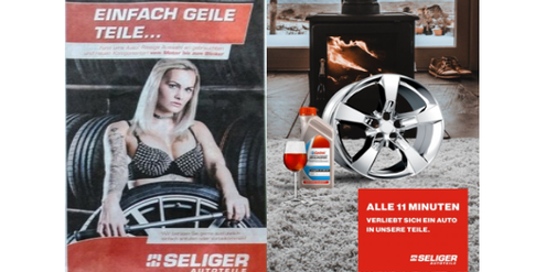 Sexistische Werbung (links) – nicht sexistische Alternative (rechts).