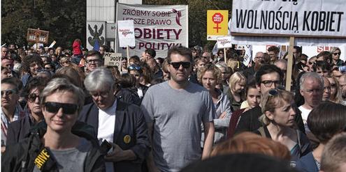 Demonstration für Frauenrechte in Polen.