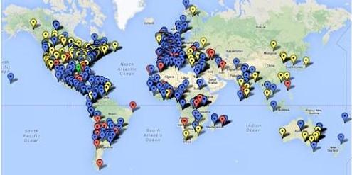 Karte des Internationalen Feministischen Netzwerks