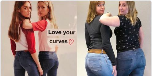 Zara-Werbung (links) und nachgestelltes Foto der TV-Journalistin Kita van Slooten (rechts).