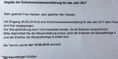 Frau Hansen darf für die Einkommenssteuererklärung nicht «Steuerpflichtige A» sein.