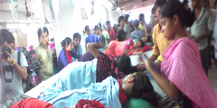 Näherinnen der «Tuba Group» während des Hungerstreiks in einem Fabrikgebäude.
