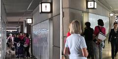 Warteschlangen vor Frauenklos am Flughafen Zürich-Kloten.