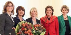 Fünf der sieben Ministerinnen: Bätzing-Lichtenthäler, Reiss, Ahnen, Dreyer und Lemke (von links).