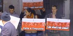 Demonstration der «Association Tunesienne des Femmes Démocrates» vor dem Gerichtsgebäude.
