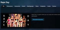 Die Webseite im «Steam»-Shop mit der Beschreibung von «Rape Day» ist mittlerweile gelöscht worden.