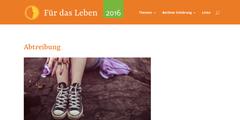 Die Webseite «Für das Leben» ist wie die Webseiten von Abtreibungsgegnern gestaltet.