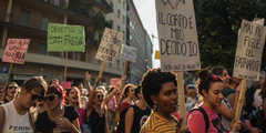 Demonstration für das Selbstbestimmungsrecht der Frauen über ihren Körper.