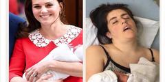 Herzogin Kate (links) und Ruth Annie Purnell (rechts) wenige Stunden nach der Geburt.