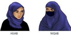 Schulen erlauben das Kopftuch (links) und verbieten den Nikab (rechts).