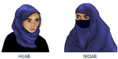 Den Nikab (rechts) darf ein Arbeitgeber verbieten, das islamische Kopftuch Hijab (links) nicht.
