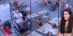 Marie Laguerre: Eine Überwachungskamera dokumentierte die Attacke auf die 22-Jährige (am Bildrand).