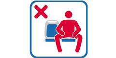 Piktogramm in Madrid signalisiert: Bitte nicht breitbeinig sitzen.