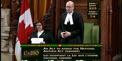 Das kanadische Parlament hat dem Gesetz zur Änderung der Nationalhymne zugestimmt.