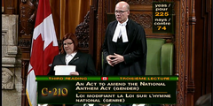 Das Gesetz zur Änderung der Nationalhymne hat das Parlament mit 225 Ja-Stimmen deutlich angenommen.