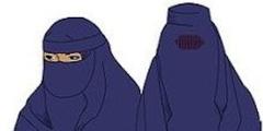 Nikab (links) und Burka (rechts) sind in Frankreich im öffentlichen Raum verboten.