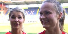 Erfreut: Die norwegischen Nationalspielerinnen Andrine Hegerberg und Caroline Graham Hansen (v.l.).