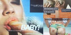 Frauenfeindliche Werbung eines Fitnessstudios, eines Schrotthändlers und einer Gartenbaufirma.